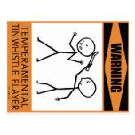 Warning Temperamental Tin Whistle Player Postcards
