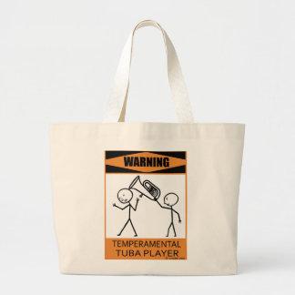 Warning Temperamental Tuba Player Canvas Bag