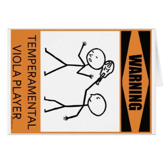 Warning Temperamental Viola Player Greeting Card