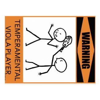 Warning Temperamental Viola Player Postcards