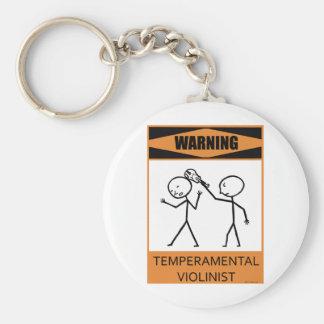 Warning Temperamental Violinist Basic Round Button Key Ring