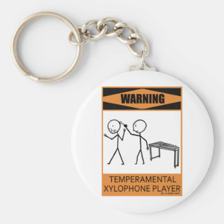 Warning Temperamental Xylophone Player Basic Round Button Key Ring