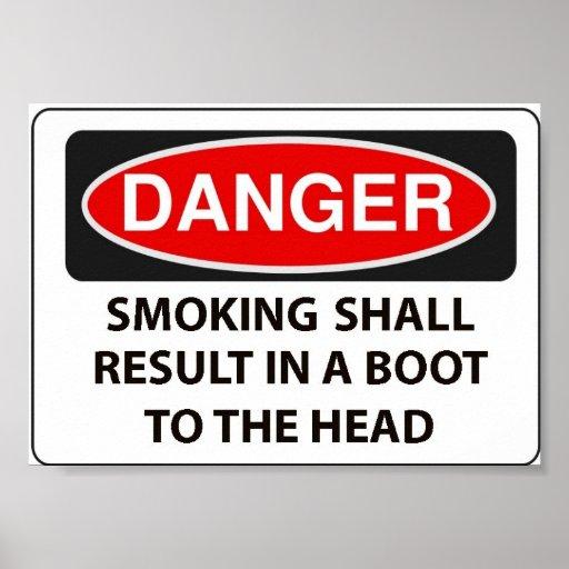 Warning to smokers print
