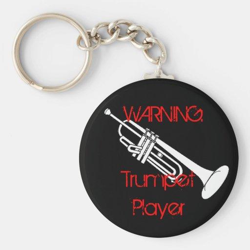 Warning: Trumpet Player Keychain