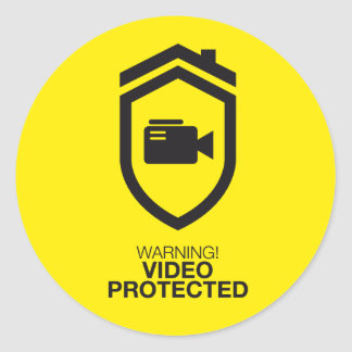 Warning! Video Protected Classic Round Sticker