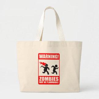 Warning! Zombies May Be Flammable Tote Bag