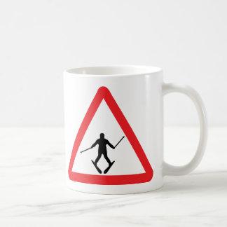warnsign ski learner - skiing skier plough basic white mug