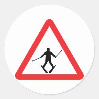 warnsign ski learner - skiing skier plow round sticker