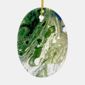 Warp green purple white space ceramic oval decoration