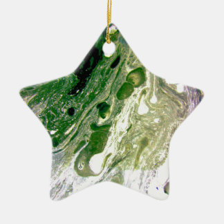 Warp green purple white space christmas ornament