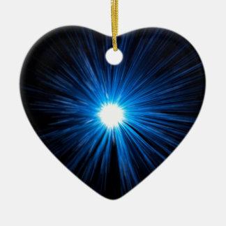 Warp speed blue. ceramic heart decoration