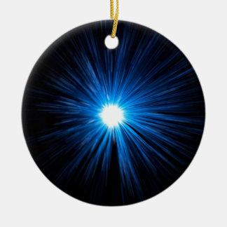 Warp speed blue. round ceramic decoration