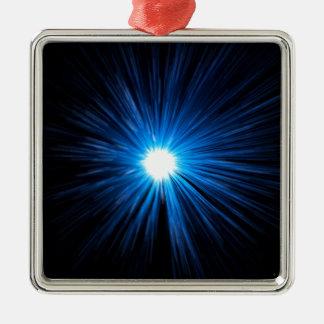 Warp speed blue. Silver-Colored square decoration