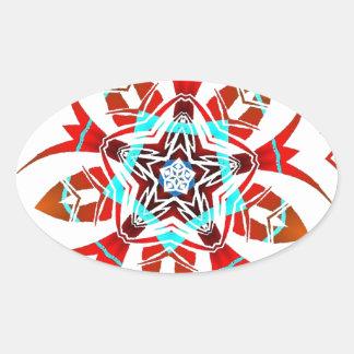 Warped  tribal Flower Oval Sticker