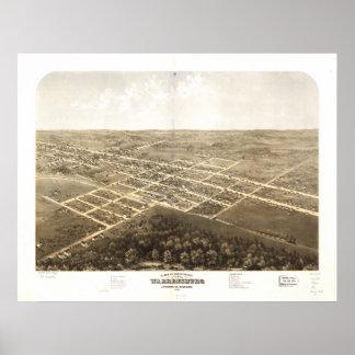 Warrensburg Missouri 1869 Antique Panoramic Map Poster