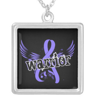 Warrior 16 Stomach Cancer Square Pendant Necklace