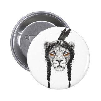 Warrior lion 6 cm round badge