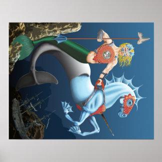 Warrior Merman Fantasy Art Illustration Poster