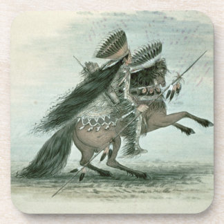 Warrior of the Crow Tribe (w/c on paper) Coasters