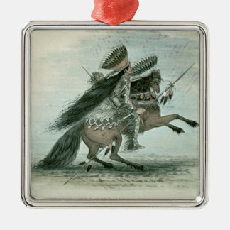Warrior of the Crow Tribe (w/c on paper) Silver-Colored Square Decoration