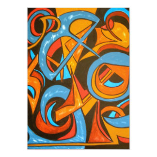 Warrior One Yogi - Abstract Art 11 Cm X 16 Cm Invitation Card