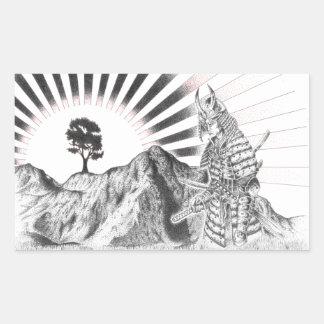 Warrior Samurai and raising sun - M1 Rectangular Sticker