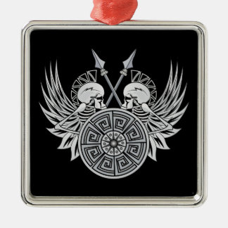 Warrior Skulls Square Metal Christmas Ornament