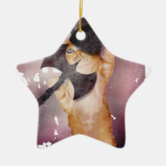Warrior Viking Cat Kitten Funny Ceramic Star Decoration