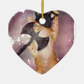 Warrior Viking Cat Kitten Funny Christmas Ornament