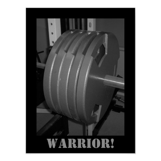 WARRIOR! Weightlifting Exercise Gym Poster
