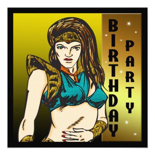 Warrior Woman Birthday Party Invitations