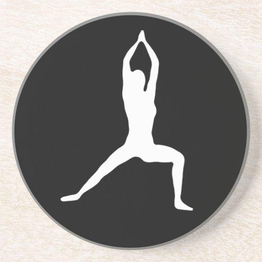 Warrior Yoga Pose Silhouette Drink Coasters
