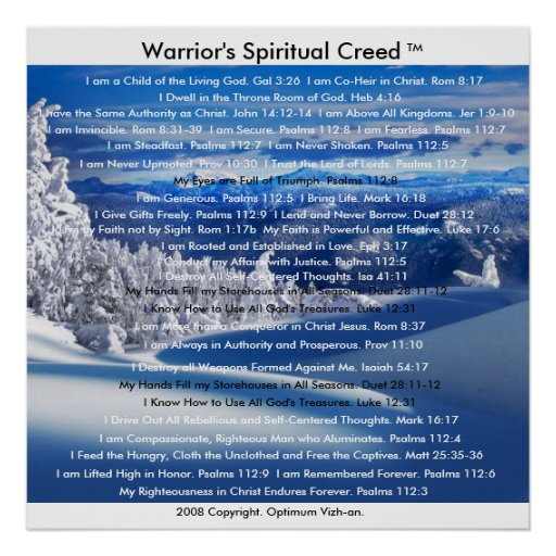 Gods And Warriors Books In Order: WarriorsCreed Warrior's Spiritual Creed