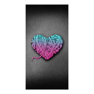 Warrpaed Pink and Blue Heart Photo Greeting Card