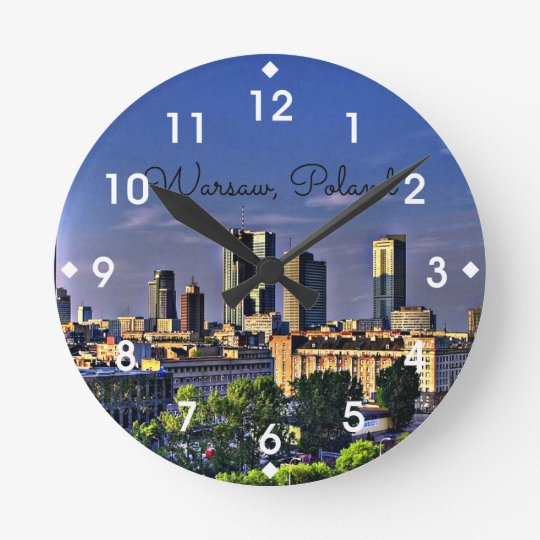 Warsaw, Poland Cityscape Wall Clocks