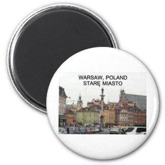 WARSAW POLAND STARE MIASTO OLD TOWN 6 CM ROUND MAGNET