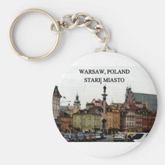 WARSAW POLAND STARE MIASTO OLD TOWN BASIC ROUND BUTTON KEY RING