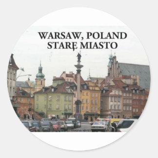 WARSAW POLAND STARE MIASTO OLD TOWN ROUND STICKER