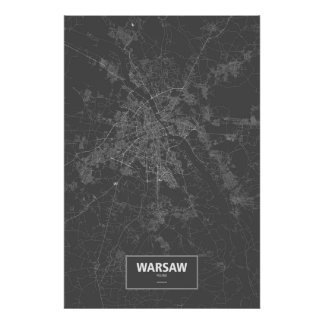 Warsaw, Poland (white on black) Poster