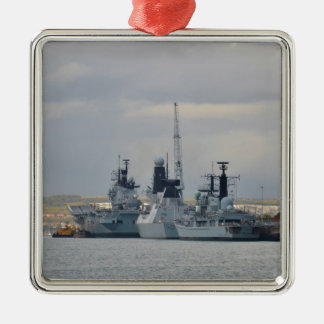 Warships In Portsmouth Silver-Colored Square Decoration