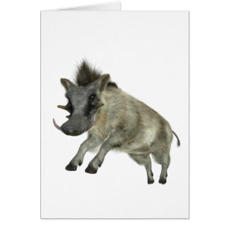 Warthog Jumping to Right Greeting Card