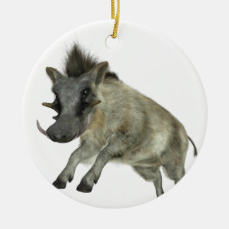 Warthog Jumping to Right Round Ceramic Decoration