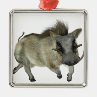 Warthog Running Left Silver-Colored Square Decoration