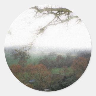 Warwick Castle View Round Sticker