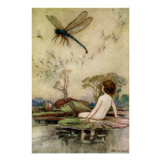 Warwick Goble Waterbaby On A Waterlily Poster