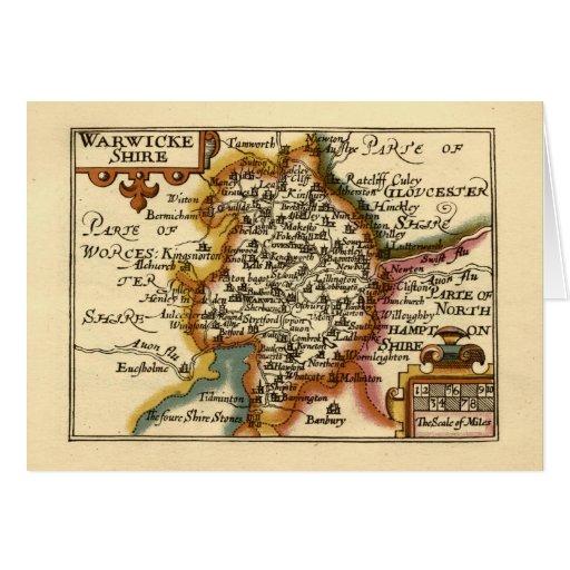 """Warwickeshire"" Warwickshire County Map Greeting Card"