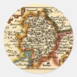 """""""Warwickeshire"""" Warwickshire County Map Round Sticker"""