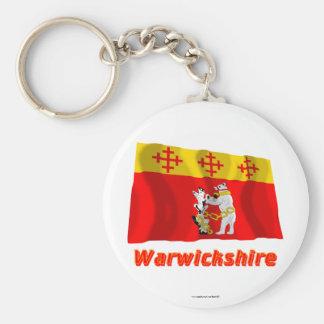 Warwickshire Waving Flag with Name Basic Round Button Key Ring