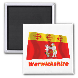 Warwickshire Waving Flag with Name Square Magnet