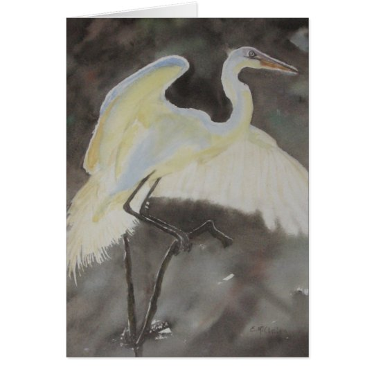 Wary Landing Note Card Watercolor by E.McClellan